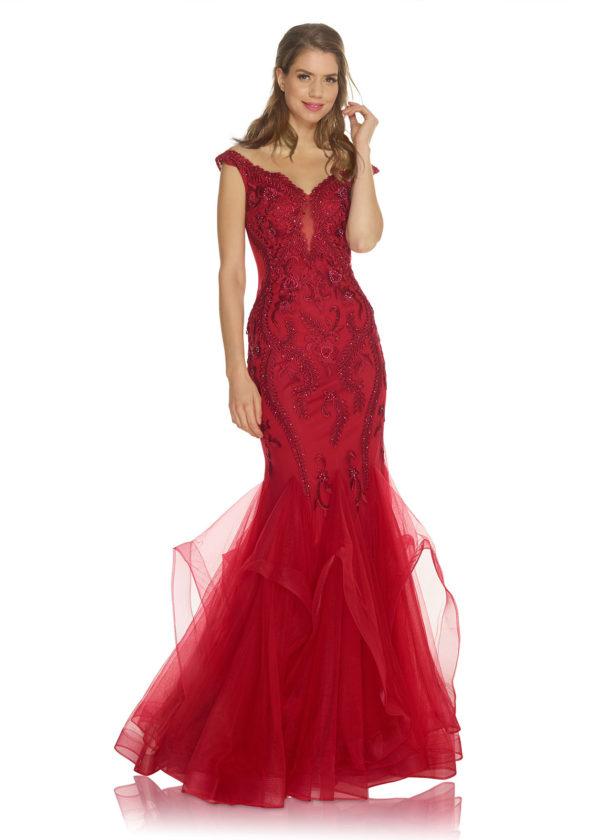 Röd balklänning sjöjungfrumodell